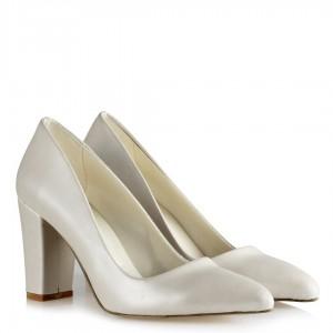 Nikah Ayakkabısı Kırık Beyaz Kalın Topuklu