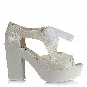 Gelin Ayakkabısı Kırık Beyaz Yaldızlı