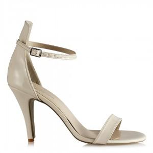 Topuklu Ayakkabı Bantlı Bej Rugan
