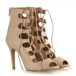Topuklu Ayakkabı Bej Bağcıklı