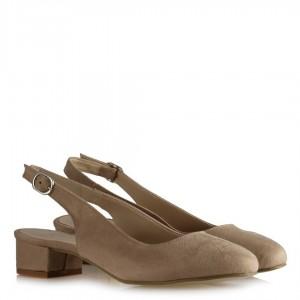 Alçak Topuklu Vizon Arkası Açık Ayakkabı