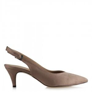 Arkası Açık Ayakkabı Stiletto Vizon Süet
