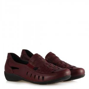 Düz Ayakkabı Bordo Hakiki Deri