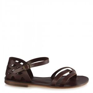 Bodrum Sandalet Kahverengi Kafesli