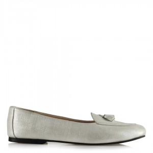 Babet Ayakkabı Kirli Beyaz Yaldızlı Leofer