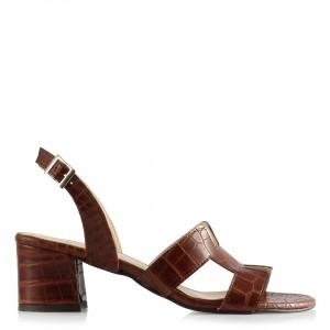 Topuklu Sandalet Ayakkabı Kahverengi Crocodile Desenli
