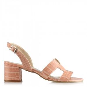 Pudra Crocodile Desenli Topuklu Sandalet Ayakkabı