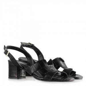 Sandalet Siyah Crocodile Desenli Topuklu  Ayakkabı