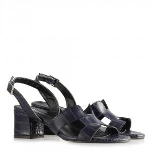 Topuklu Sandalet Ayakkabı Lacivert Crocodile Desenli
