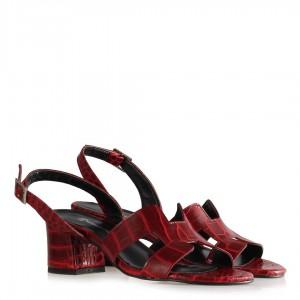 Bordo Topuklu Sandalet Ayakkabı  Crocodile Desenli