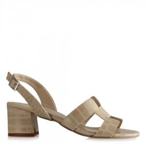 Topuklu Sandalet Ayakkabı Crocodile Desenli Bej Rengi