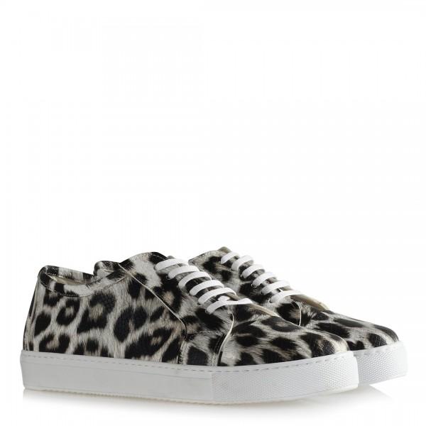 Siyah Beyaz Leopar Desen Spor Ayakkabı