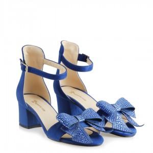 Az Topuklu Ayakkabı Saks Mavi Süet Şık Taşlı