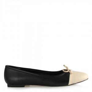 Düz Babet Ayakkabı Siyah Bej Fiyonklu