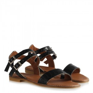 Sandalet Bantlı Kemerli Siyah Crocodile