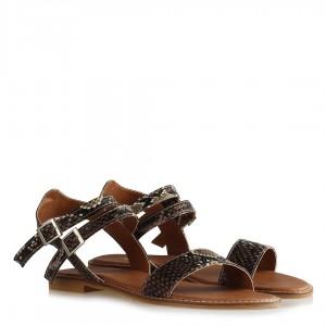 Kahverengi Yılan Desenli Sandalet Kemerli