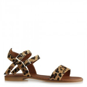 Sandalet Leopar Desenli Bantlı