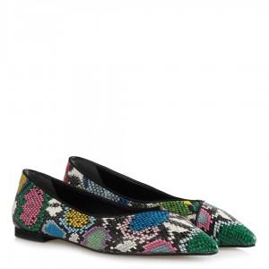 Babet Ayakkabı Renkli Yılan Desenli