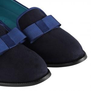 Düz Bayan Ayakkabı Lacivert Süet Fiyonklu