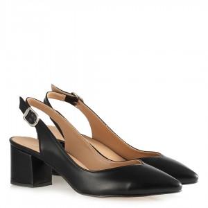 Stiletto Siyah Mat Arkası Açık Kalın Topuklu