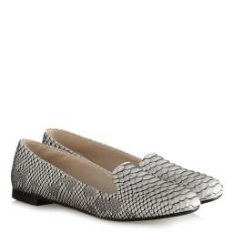 Babet Ayakkabı Siyah Beyaz Crocodile
