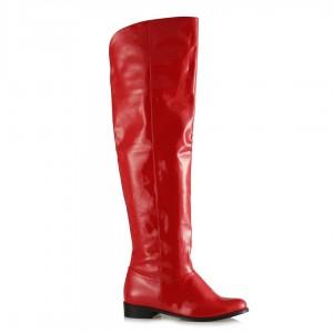 Binici Uzun Çizme Kırmızı Rugan Model