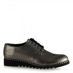 Oxford Ayakkabı Platin Rengi Zımbalı Taban