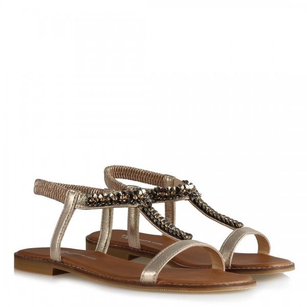 Taşlı Lastikli Sandalet Yaldızlı Dore