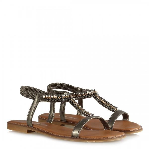 Sandalet Platin Yaldızlı Taşlı Lastikli