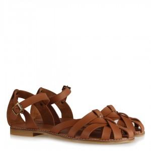 Taba Rengi Kafes Model Sandalet