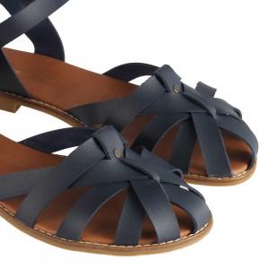 Lacivert Kafes Model Sandalet