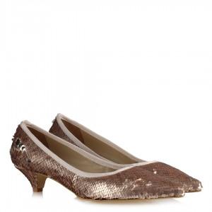 Stiletto Pudra Pullu Ayakkabı