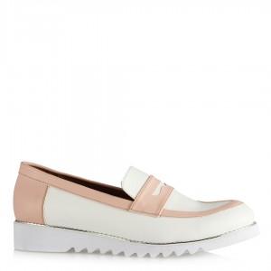 Düz Ayakkabı Beyaz Pembe Zımbalı Taban
