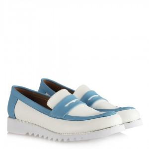 Bayan Ayakkabı Zımbalı Taban Beyaz Mavi