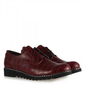 Bordo Crocodile Baskı Bağcıklı Ayakkabı