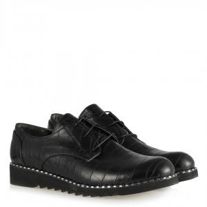 Siyah Crocodile Baskı Bağcıklı Ayakkabı