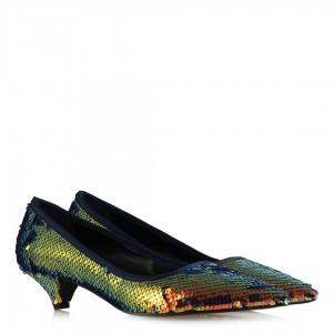 Stiletto Oranj Rengi Ayakkabı Pullu