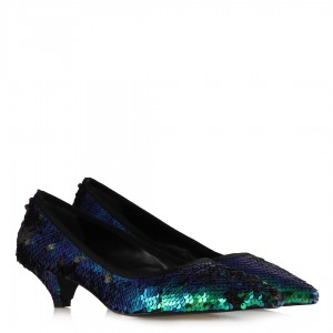 Stiletto Ayakkabı Yeşil Pullu Ayakkabı