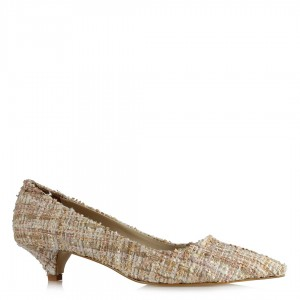 Stiletto Alçak Topuklu Ayakkabı Tweet Kumaş Bej Renkli