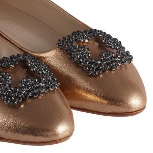 Babet Ayakkabı Bakır Yaldızlı Taş Tokalı