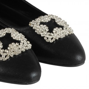 Bayan Babet Ayakkabı Taşlı Tokalı Siyah Yaldızlı