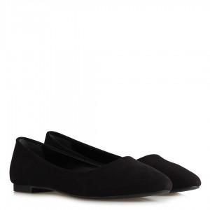 Babet Ayakkabı Siyah Süet Sivri Model