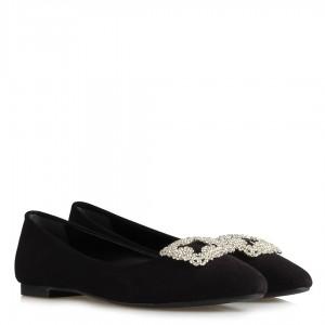 Babet Ayakkabı Siyah Süet Beyaz Taşlı Tokalı