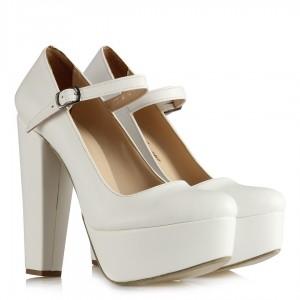 Platform Gelin Ayakkabısı Beyaz Balerin
