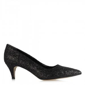 Stiletto Siyah Cam Kırığı Az Topuklu