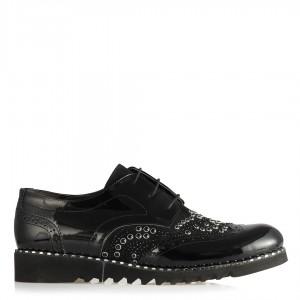 Oxford Ayakkabı Siyah Taşlı Zımbalı