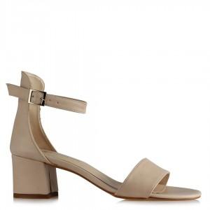 Topuklu Sandalet Ayakkabı Ten Rengi