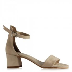 Topuklu Sandalet Ayakkabı Ten Süet