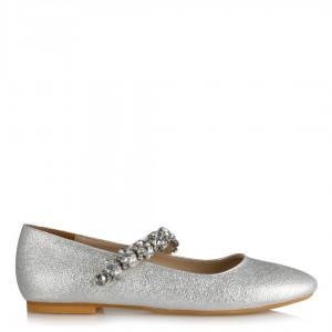 Lame Damarlı Taşlı Kemerli Babet Ayakkabı