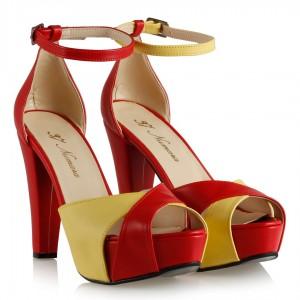 Platform Ayakkabı Sarı Kırmızı